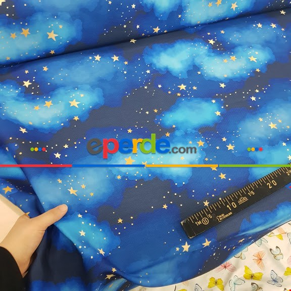 Yıldız Ve Gece Desenli Fon Perde Evm678 Kumaşı Kalındır Duck Bezi Değildir- Mavi