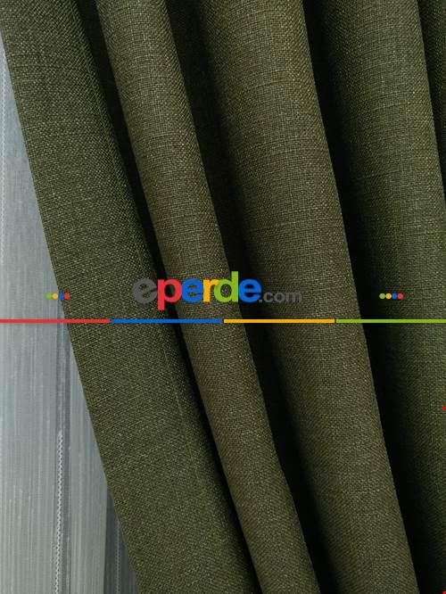 Keten Koyu Haki Yeşil Renk Düz Fon Perde (180cm En)- Haki