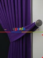 Gri Düz Renk Dökümlü Fon Perde (150)- Gri Mor