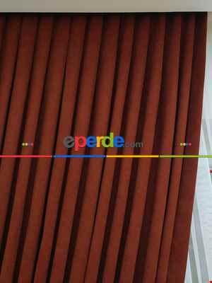 Kırmızı Koyu Rengi Düz Sade Fon Perde Dökümlü ( En 150cm Dökümlü Fon )- Kiremit Rengi