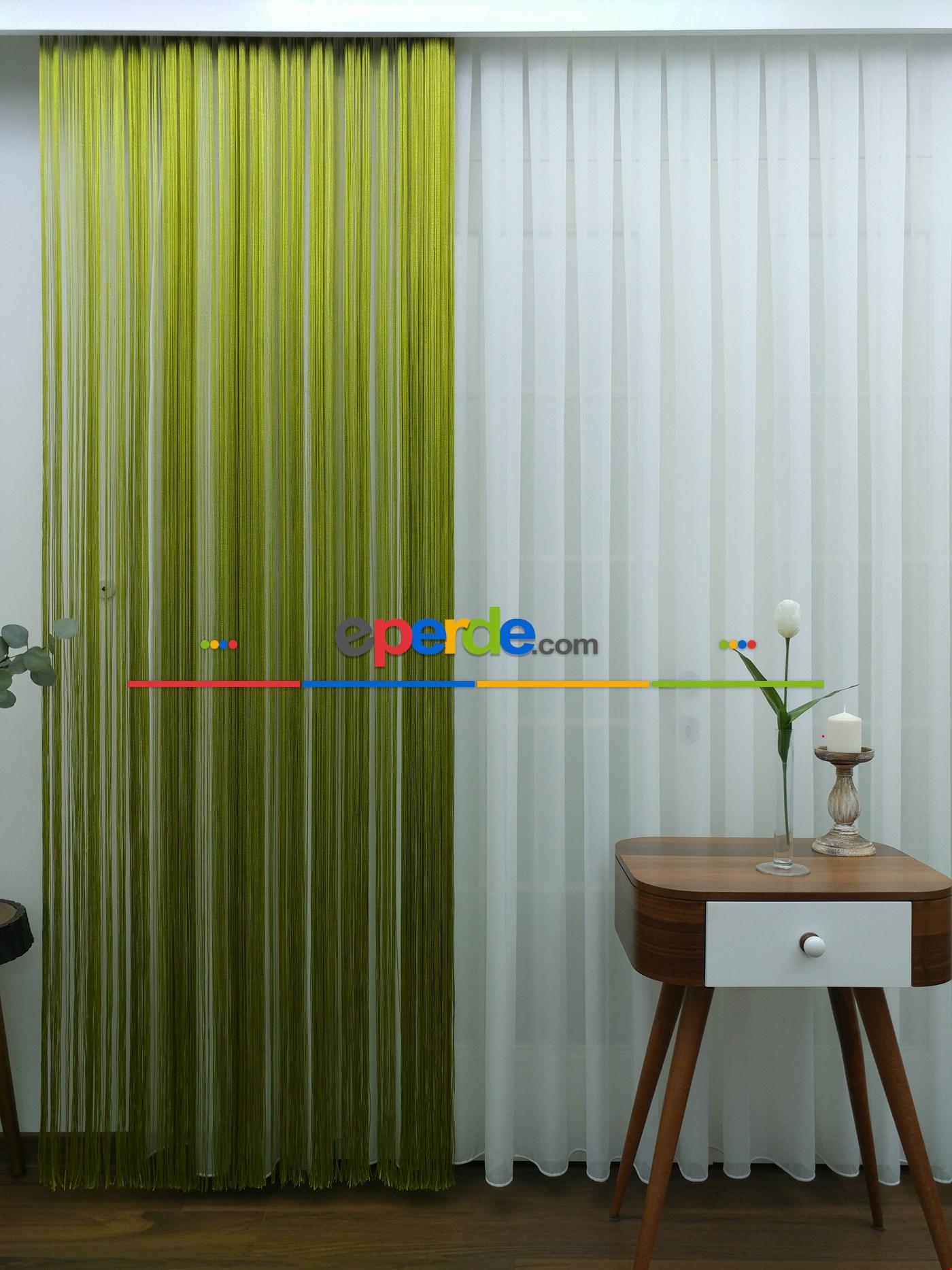 Yeşil İp Perde - Fıstık Yeşili