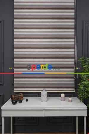 Salon - Zebra Perde - Degrade Renk Geçişli Kırık Pileli Zebra Perde