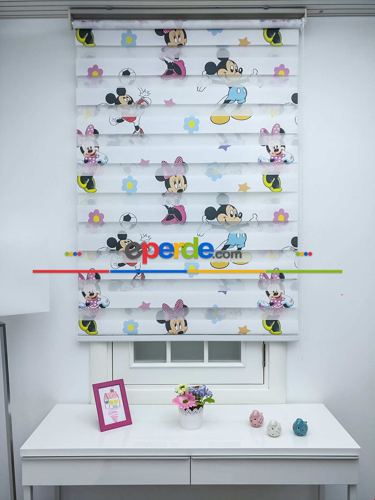 Minnie Mouse Ve Mikie Mouse Zebra Perde