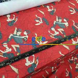 Dans Desenli Fon Perde Evm704 Kumaşı Kalındır Duck Bezi Değildir- Siyah-Kırmızı