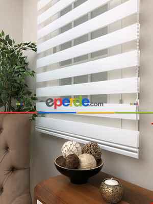 Beyaz Mutfak Perdesi Zebra Perde Düz Seri- Beyaz