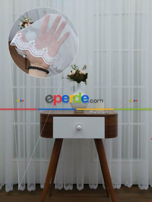 Salon Tül Perde - Grek Etek Ucu Nakışlı Modern Tül Perde