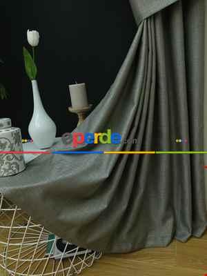 Salon Perdesi - Natural Grimsi Desenli Jakar Fon Perde (geniş En:280 Kumaş)- Gri Açık