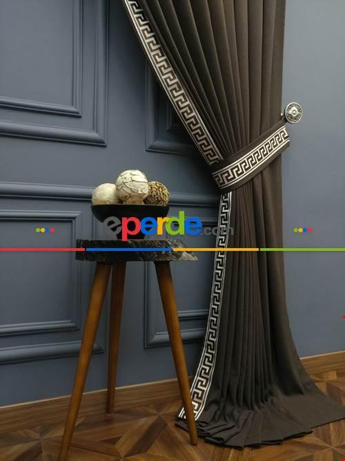 Modern Bordürlü Salon Fon Perdesi İkon 2020 Elıte