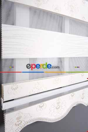 Salon - Satex Yeni Sezon Beyaz Ekru Gold Sim Zebra-stor Perde Damask02