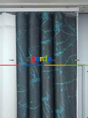 Lens Akıllı Dikey Tül Perde Mermer-21- Çok Renkli 2
