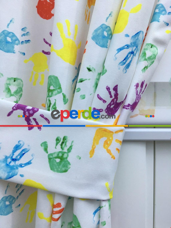 Çocuk Odası Fon Perde - Boyalı Eller Baskılı Çocuk Odası Fon Perde - ( Kalın Pamuklu Kumaş)- Yeşil