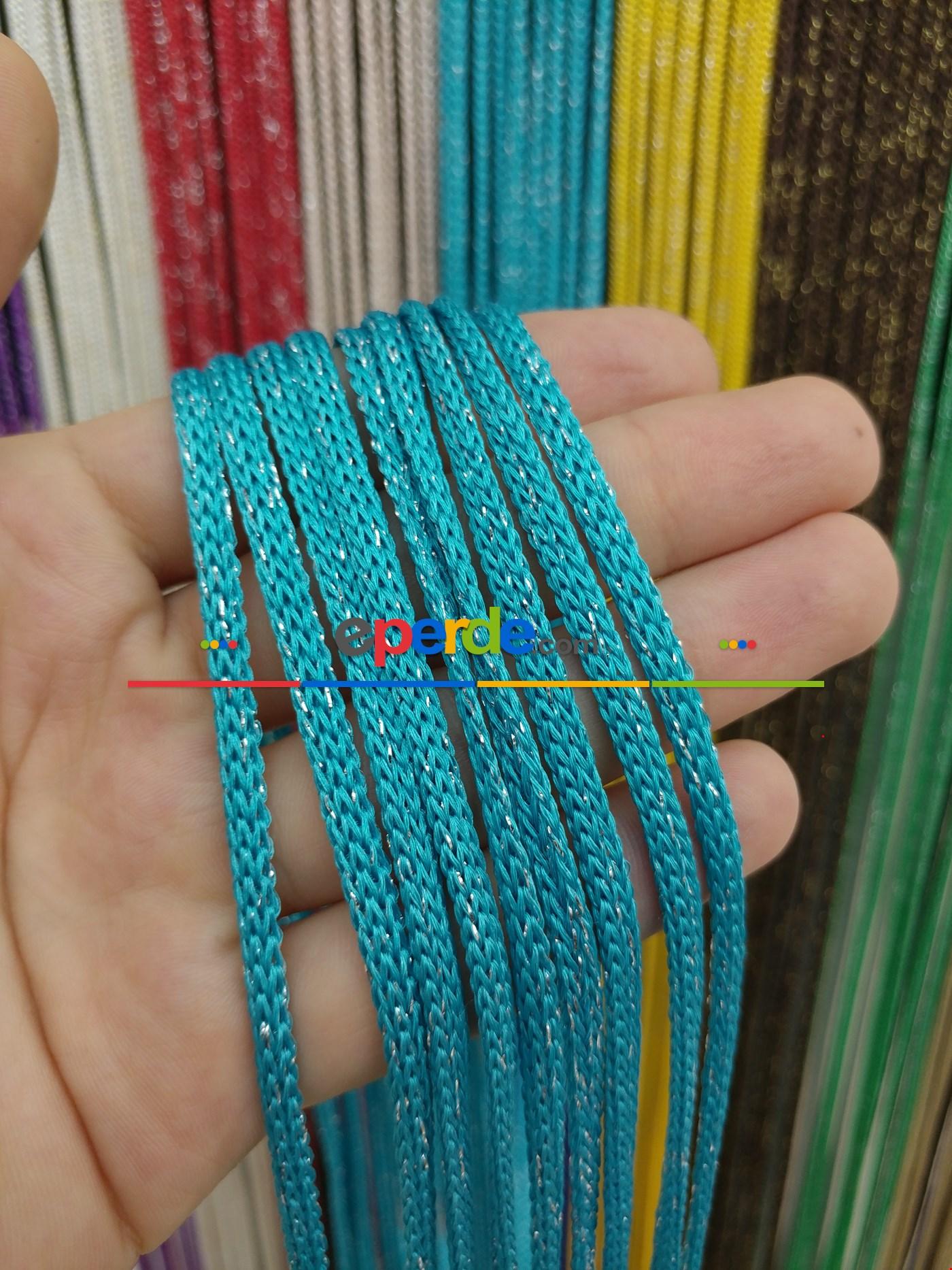 Gri Rengi Simli İp Perde Jumbo Zincir Serisi Mavi - Gümüş