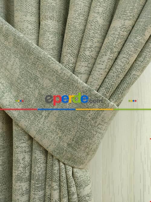 Yeşil Krem- Düz Jakar Fon Perde (180)