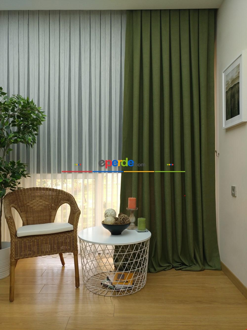Koyu Yeşil - Düz Fon Perde ( En 180cm Dökümlü Fon Perde)