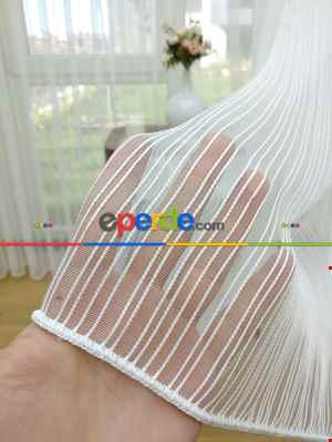 Salon Tül Perde - Brillant Zincir Desenli Düz Armür Tül Perde - Yüksek Gramajlı - (ütü Gerektirmez)- Ekru