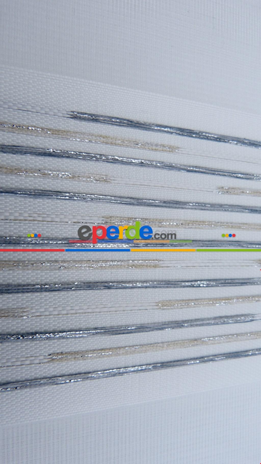 Salon Zebra Perde - Düz Zebra Perde - Çizgili - 22369-4013- Mavi Grimsi