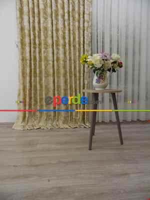Çiçek Desenli Dökümlü Fon Perde - Krem- Krem