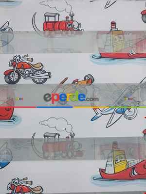 Çocuk Odası - Gemili Uçaklı Motor Desenli Erkek Çocuk Odası Zebra Perde-  Çok Renkli 2