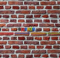 Duvar Tuğla Resimli Fon Perde Takılmaya Hazır 2 Kanat - Kumaşı Kalındır- Güneş Işığını Azaltır 270cm X 260cm