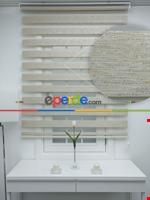 #üreticifirma %40 Indirimli !!! Bej - Bambu Zebra Perde - Simli- Bej Krem