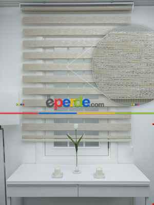 #üreticifirma %40 Indirimli !!! Bej - Bambu Zebra Perde - Simli- Bej