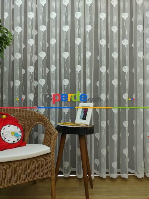 Balon Desen Çocuk Odası Örme Tül Perde