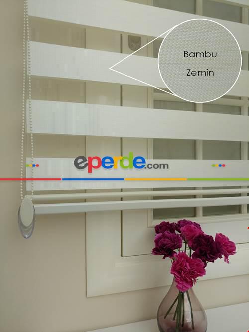 Krem - Ekru Renk Bambu Zebra Perde (kalın Zeminli)- Krem-krem Açık