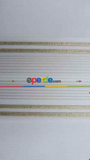 Salon Zebra Perde - Pliseli Zebra Perde Altın Sim Şeritli- Beyaz
