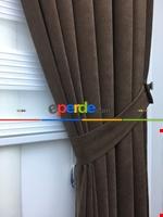 Kahverengi Düz Fon Perde (280 Eninde)- Kahverengi Kahverengi