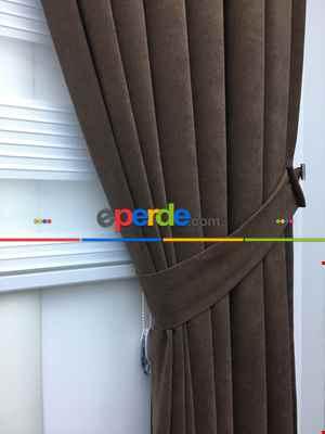 Kahverengi Düz Fon Perde (280 Eninde)- Kahverengi