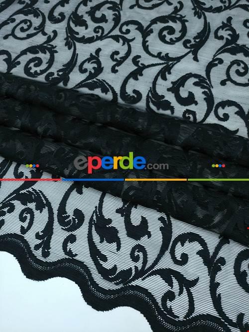 Siyah - Tül Perde Ve Kruvaze Perde Mat Şal Desenli ( Dantel Tül)- Siyah