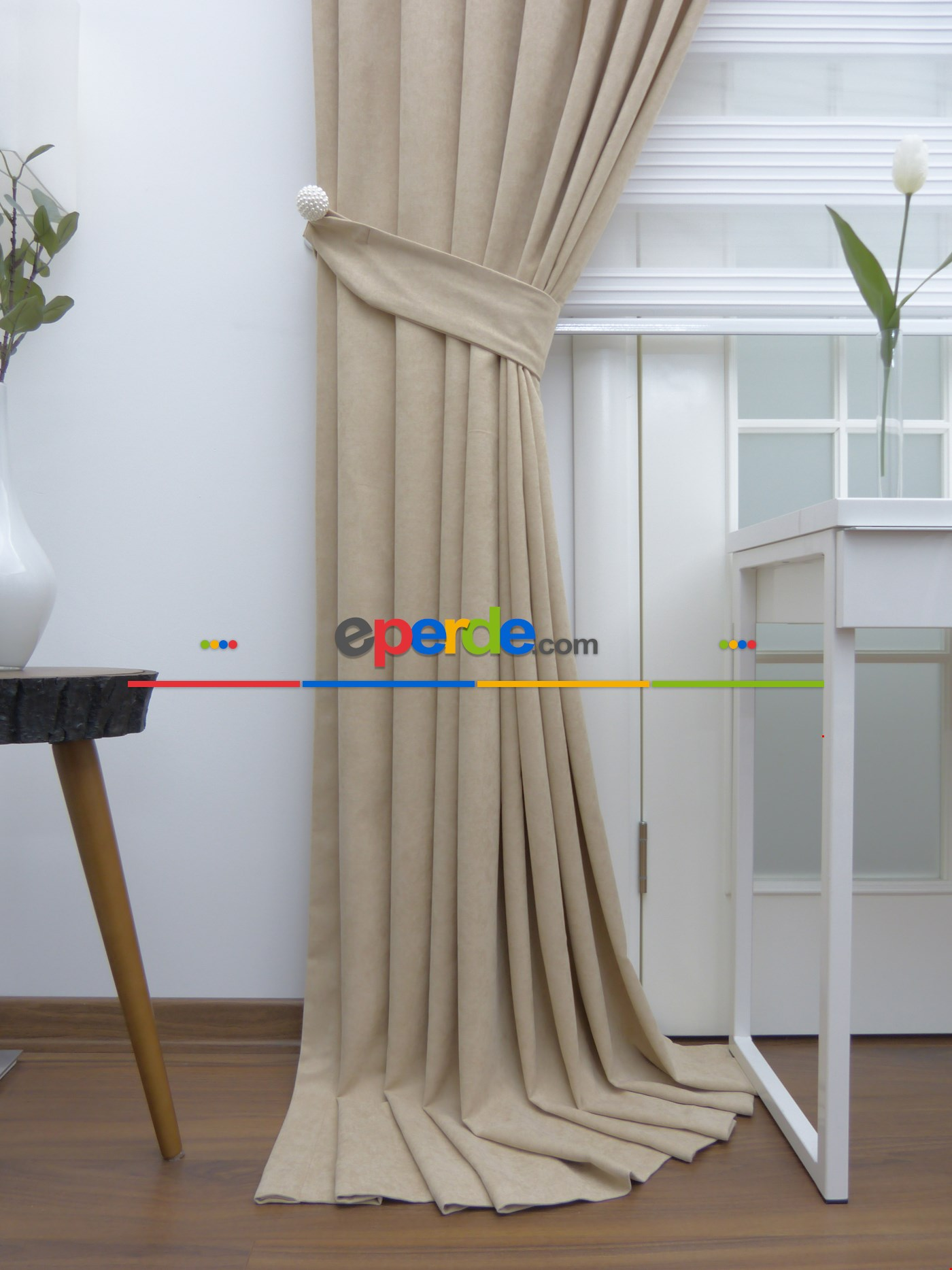 Kum Beji Rengi Düz Fon Perde 130cm X 270cm