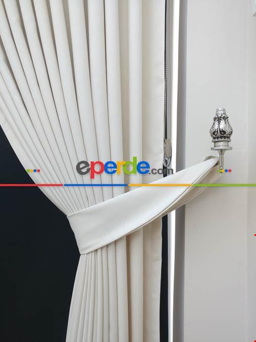 Düz Renk Dökümlü Fon Perde (150)- Beyaz