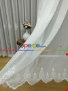 Ekru Damask Desen Nakış İşlemeli Tül Perde Göbeği Koyu Krem