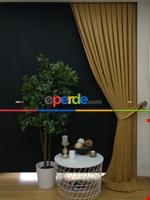 Gri Düz Renk Dökümlü Fon Perde (150)- Gri Hardal