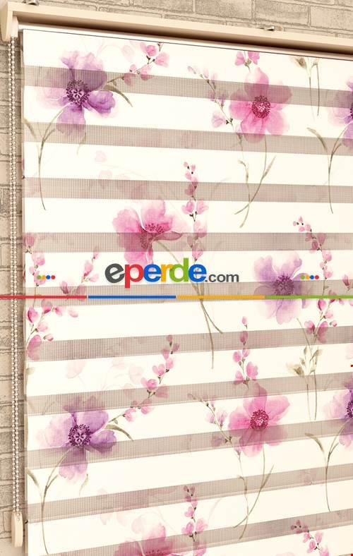Pembe Ve Mor Çiçekler - Baskılı Zebra Perde