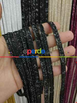 Siyah Rengi İp Perde İpek Koza Serisi- Siyah-gümüş