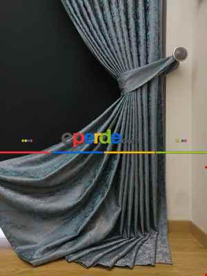 Gri Mint Desenli Jakar Fon Perde (180cm En)- Gri-füme-antrasit-mint