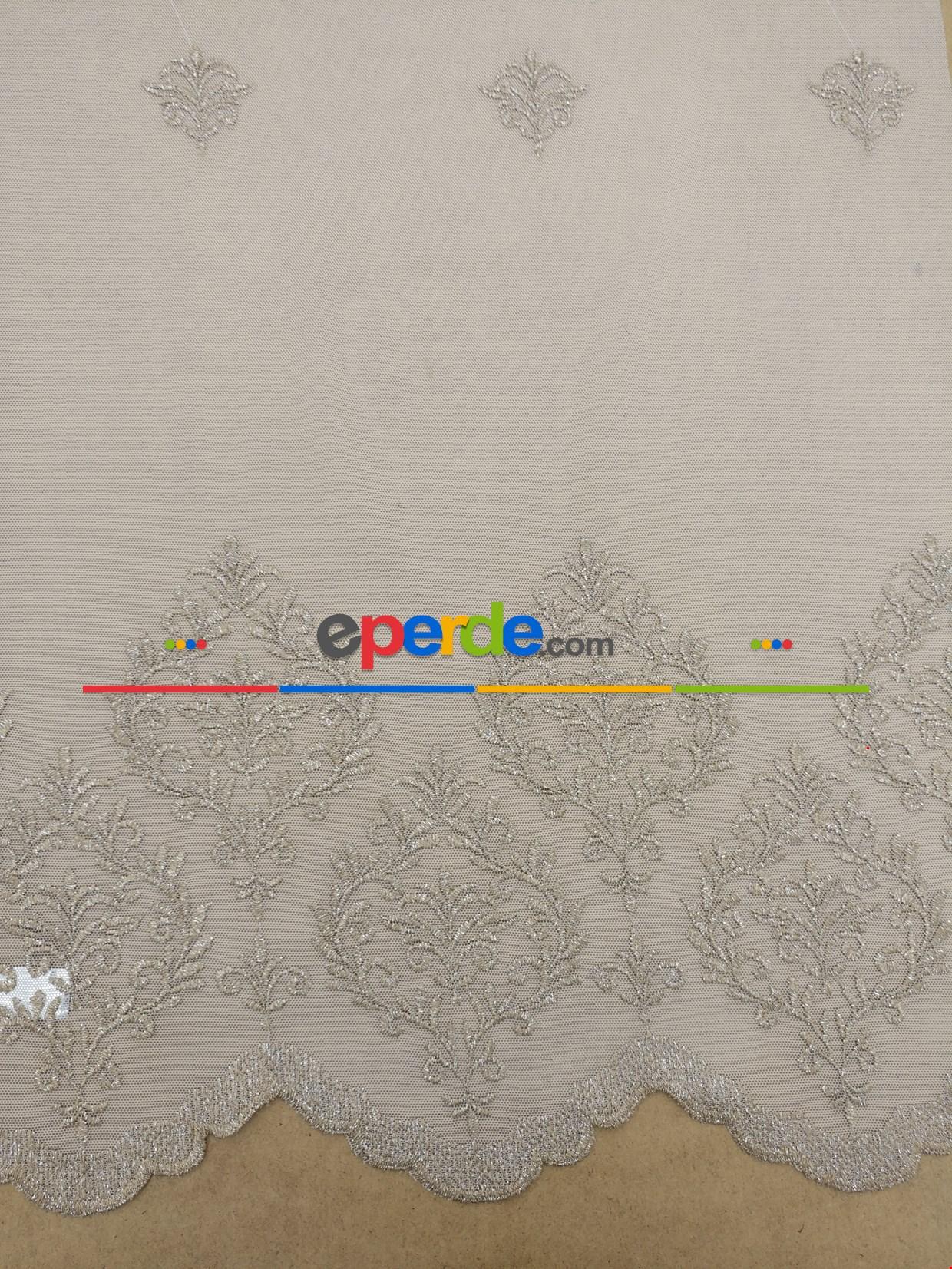 Vizon Renk Damask Desenli Nakış İşlemeli Tül Perde