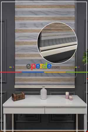 Salon Zebra Perde - Zebra Perde-style Krem Simli Yarım Plise Zebra Perde- Krem
