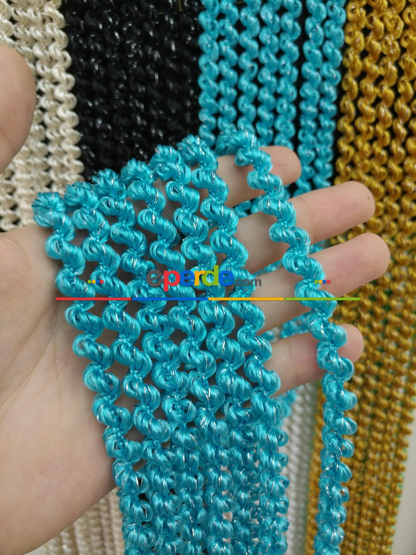 Açık Bej Rengi İp Perde Duble Bukle Serisi Mavi - Gümüş