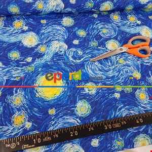 Van Gogh Yıldızlı Gece Desenli Fon Perde Evm679 Kumaşı Kalındır Duck Bezi Değildir- Mavi-Sarı-Beyaz-Mavi Açık-Mavi Koyu
