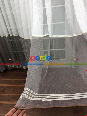 Keten Zemin Üzeri Renk Geçişli Bantlı Tül Perde - Kombin Fon : 33644