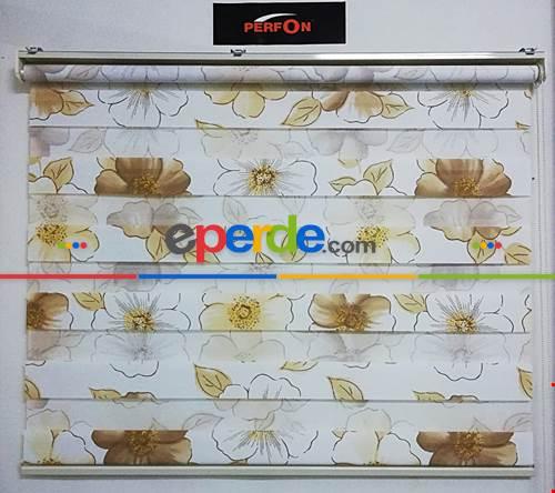 Çiçek Desenli Zebra Perde Hardal- Sarı-beyaz-hardal