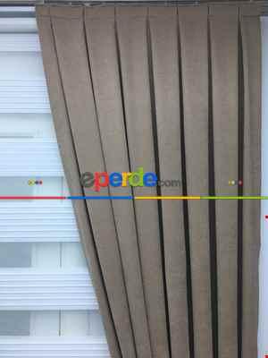 Açık Vizon Düz Fon Perde (280 Eninde)- Açık Vizon