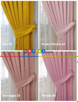 Salon Perdesi - Düz Fon Perde 35 Renk Kadifemsi İpek Gibi Yumuşak Gramajı Yüksek Dökümlü- Çok Renkli