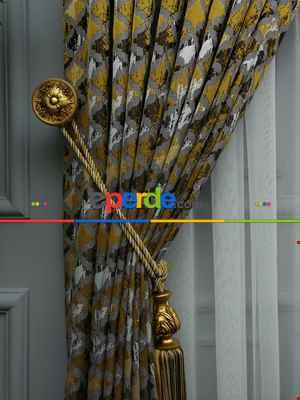 Salon Perdesi - Sarı Desenli Jakar Fon Perde (285 En)- Sarı