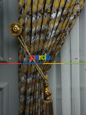 Sarı Desenli Jakar Fon Perde (285 En)