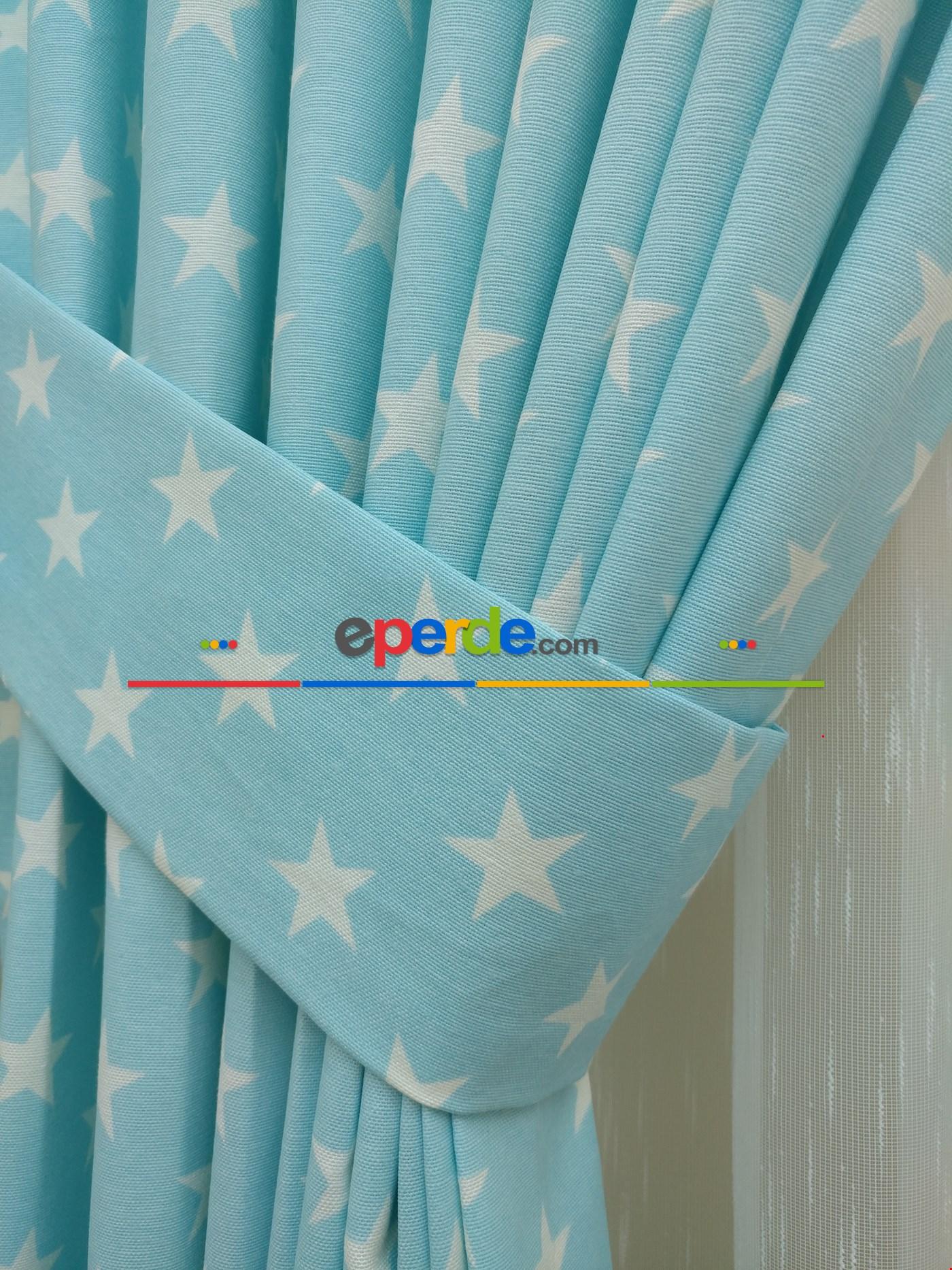 Yıldız Desenli Fon Perde ( Leke Tutmaz ) Mavi Açık