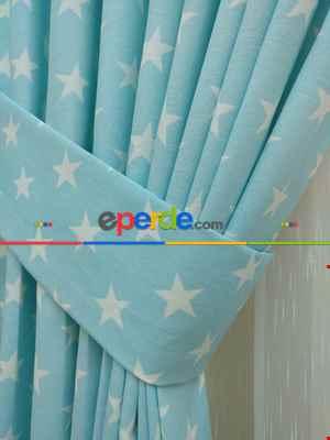 Yıldız Desenli Fon Perde ( Leke Tutmaz )- Mavi Açık